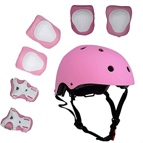 KEKLLE Kids 7 Pieces Outdoor Sports Protective Gear Set Boys and Girls Cycling Helmet Safety Pads Set [Knee&Elbow Pads and Wrist Guards] for Roller Scooter Skateboard Bicycle