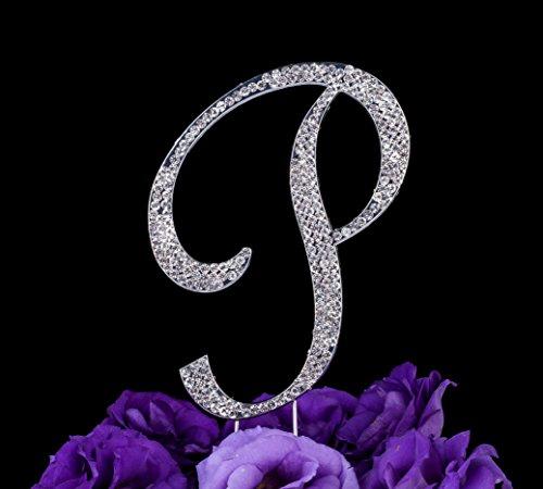 LOVENJOY Gift Box Pack Personalized Letter P Crystal Rhinestone Wedding Anniversary Birthday Bridal Shower Metal Cake Decoration Topper Silver ( 3.3-inch) (Gift Wedding Box Cake)