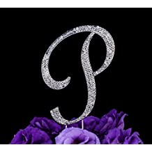 LOVENJOY Gift Box Pack Personalized Letter P Crystal Rhinestone Wedding Anniversary Birthday Bridal Shower Metal Cake Decoration Topper Silver (3.3-inch)