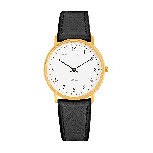 Projects Watch M&Co Bodoni Brass w/ Black Leather Band 7401BR-BK