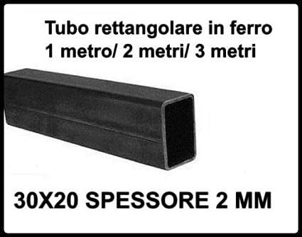 2 metri Tubo rettangolare in ferro liscio scatolato 30x20 di spessore 2 mm