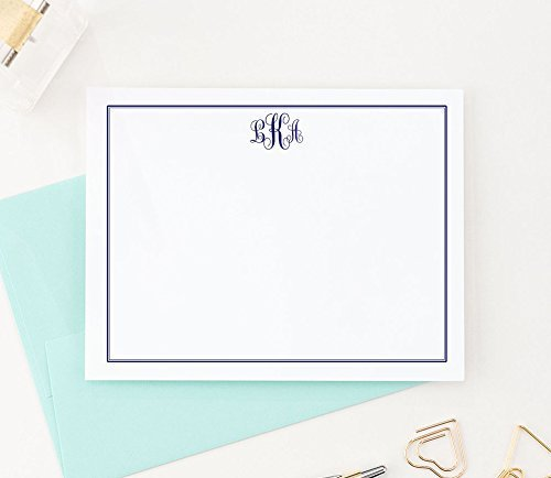 Monogrammed Stationary cards, Monogram Stationery Set, Monogrammed Note Cards, Monogrammed Gifts for Women, Your Choice of Colors, Set of 10 flat note cards and envelopes by Modern Pink Paper