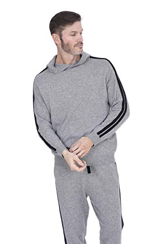 - Cashmeren Men's Wool Cashmere Knitted Loungewear Pants (Heather Grey/Black, X-Large)