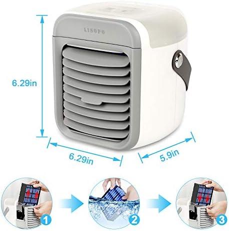 LISOPO Climatiseur Portable, 7 en 1 Mini Refroidisseur d'air Portable USB/Batterie Charge Ventilateur de Climatisation Silencieux et Humidificateur Purificateur