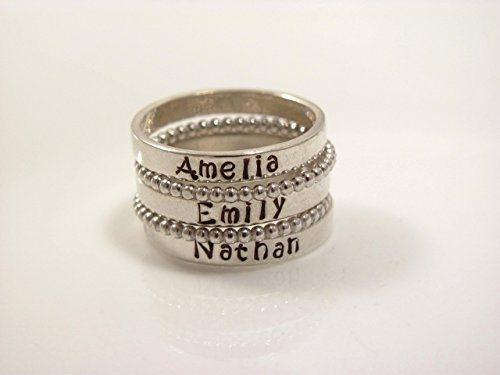 Sterling Silver Stacking Name Ring- personalized ring- SET