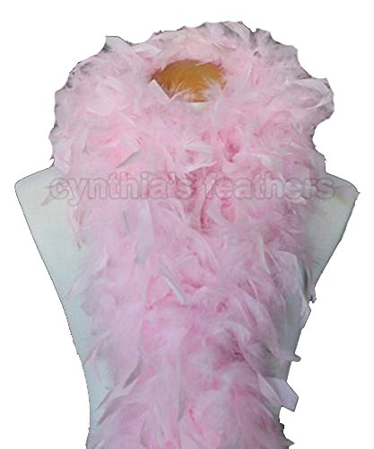 Cynthia's Feathers 80g Chandelle Feather Boas over 30 Color & Patterns (Baby Pink)