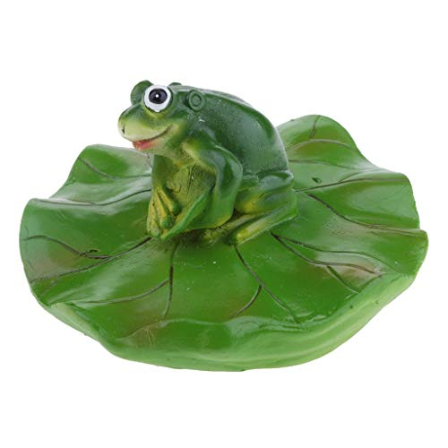 (Joysiya Water Floating Lotus Leaf with Frog Ornament Figurine Statue Craft for Home Garden Pond Decoration Photo Prop Gift - Stanging)