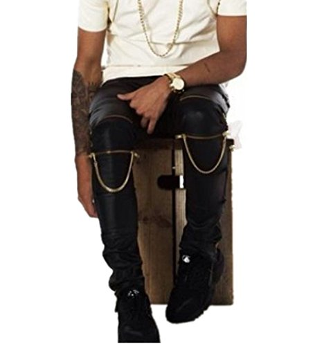Olrain Mens Zipper Skinny Motorcycle Faux Leather Long Pants 35 Black