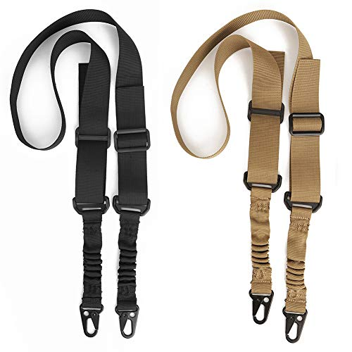Accmor 2 Point Sling, 2 Pack Adjustable Upgrade Version 2 Point Rifle Sling/Gun Sling with Metal Hook for Outdoor Sports (Black + Khaki)