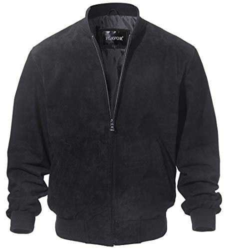 Suede Leather Baseball - FLAVOR Men's Leather Baseball Jacket Vintage Suede Pigskin (XX-Large, Black)