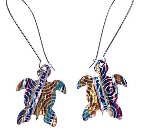 (Shag Wear Women's Art Deco Multi Colored Turtle Hoop Earrings)