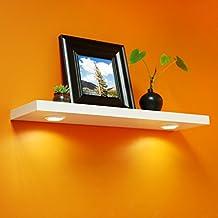 WELLAND FloatingShelvesWith LED LightLED Shelves, BatteryPoweredTouchActivatedLED Shelf,36-inch,White