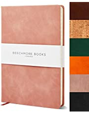 Ruled Notebook - Premium A5 Journal by Beechmore Books | Hardcover Vegan Leather, Thick 120gsm Cream Paper, Professional Lined Notebook in Gift Box, 21 x 15 cm