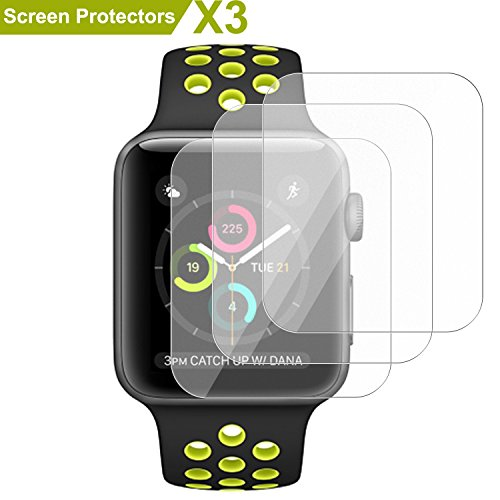 Apple Watch Screen Protector 42mm(Series 3/Series 2/Series 1),SMAPP Ultra anti-fingerprint Premium Screen Protector for Apple Watch 42 mm/Full Coverage/Explosion-proof/Anti-Bubble (3-Pack) (Water 42 Mm)