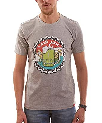 Nas Trends Grey Cotton Round Neck T-Shirt For Men