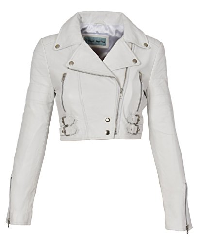 Ladies Cropped Short Length Leather Jacket Slim Fit Biker Style Demi White (Leather Cropped Jacket)