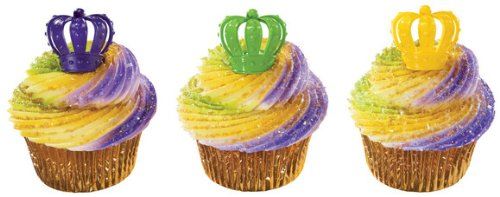 Mardi Gras Crown Cupcake Rings - Pack of 24