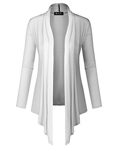 BILY Women Long Sleeve Open Front Lightweight Drape Cardigan White
