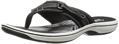 CLARKS Women's Breeze Sea Flip Flop, New Black Synthetic, 9 B(M) US