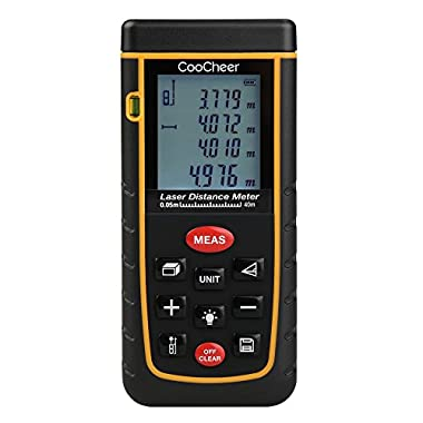 Coocheer Laser Distance Meter, Handy Laser Distance Meter with Mute Function and Removable Clip (40M)