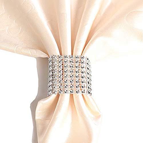 sexyrobot Rhinestone Napkin Rings Wedding Adornment, Silver Napkin Holder for DIY Party Banquet Birthday Decoration Decoration, Supply 5 x 1.6inch(50PCS)