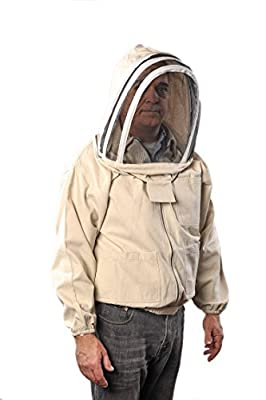 FOREST BEEKEEPING SUPPLY Forest Beekeeping Canvas Jacket with Fencing Veil Hood, Professional Premium Beekeeper Jackets (XL)