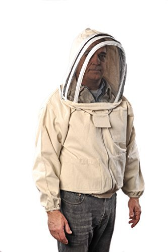 FOREST BEEKEEPING SUPPLY Forest Beekeeping Canvas Jacket with Fencing Veil Hood, Professional Premium Beekeeper Jackets (XL)]()