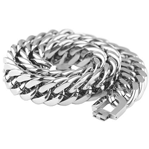 - FANS JEWELRY Heavy Huge 21mm Stainless Steel Men's Jewelry Curb Cuban Chain Necklace 8