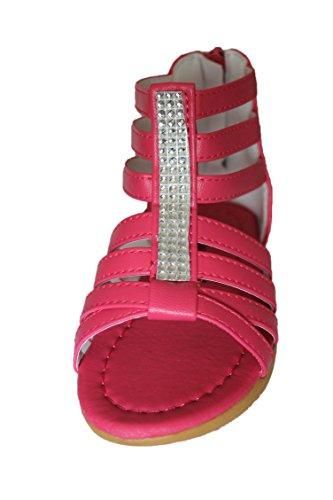 eva moda-sandales spartiates-rose foncé-fille