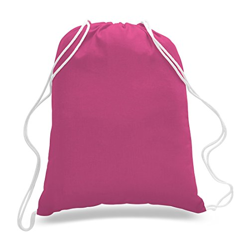 (12 Pack) 1 Dozen - Durable Cotton Drawstring Tote Bags (Hot Pink) (12 Pink Tote Bags)