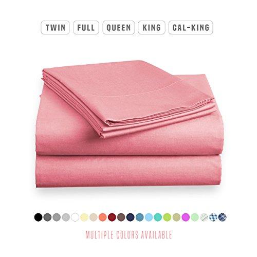 Luxe Bedding Sets - Microfiber King Size Sheets Set 4 Piece, Pillow Cases, Deep Pocket Fitted Sheet, Flat Sheet Set King - Light Pink Microfiber Solid King Sheet Set