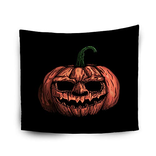 Tapestry Wall Hanging,Jacrane Art Tapestries With 80X60 Inches Pumpkin Head Halloween Holiday Symbol Isolated Black Background Halloween Logo Clip Art For Dorm Bedroom Living Home Decor -