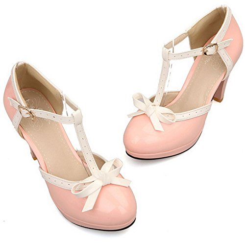 COOLCEPT Damen D Orsay Sandalen Klassische T-Spange Hohe Extra Sizes 11 Colors Pink