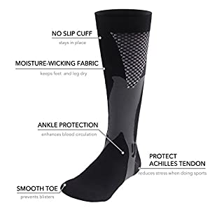 Graduated Compression Sock for Men Women Boost Performance Circulation Athletic Recovery Best for Running Nursing Black Small/Medium