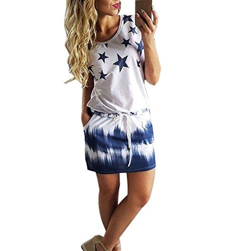 Neck Star Print - Luxsea Women's Round Neck Casual Star Print Gradient Shift Dresses
