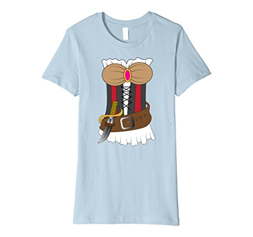 Womens Sexy Women Pirate Costume Outfit Shirt | Halloween T-Shirt Medium Baby Blue (Lady Pirate Outfit)