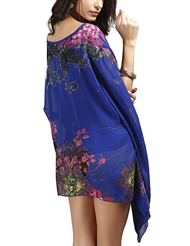 Roaays M Femmes Couvrir La Plage D'été En Style Bikini Maillot De Bain Floral Mousseline Beachwear 01 Bleu