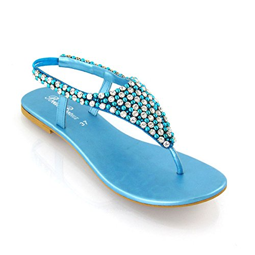 Infradito GLAM Diamante ESSEX Donna Turchese Cinturino Posteriore Finto Perlato Sandalo q4tPf