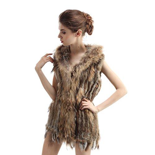 Abrigo tejido y lujoso de la piel de conejo con gorro Amarillo