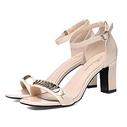 CJC Escarpins Sandales Haute Talon aux femmes Dame Chaussures Ouvrir Doigt de pied Strappy Décontractée rue du quotidien porter Sexy (Couleur : T1, taille : EU39/UK6) T2