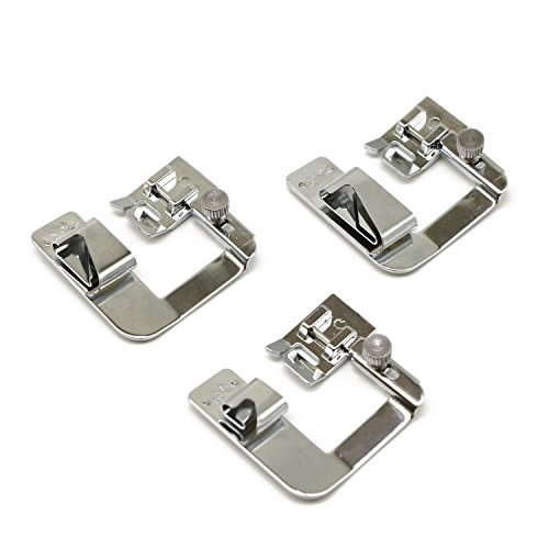 Roll Hem Foot (3 Pcs (1/2'',3/4'',1'') Adjustable Wide Rolled Hemmer Presser Foot Kit for Low Shank Sewing Machine, Singer, Baby Lock, Brother, Janome, etc.)