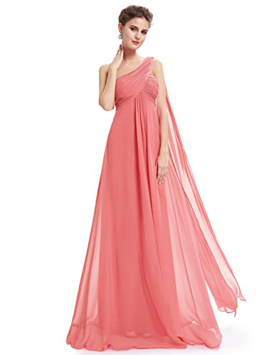 Ever-Pretty Womens Long One Shoulder Bridesmaid Dress 16 US Coral