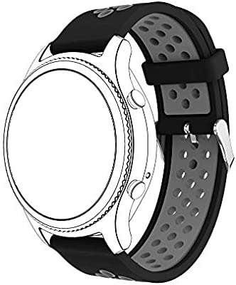 Jewh Strap Band for Samsung Gear S3 - Classic Sports - Silicone Bracelet Strap Band for Samsung Gear S3 Classic A.6 - Samsung Smart Watch (Black Gray)
