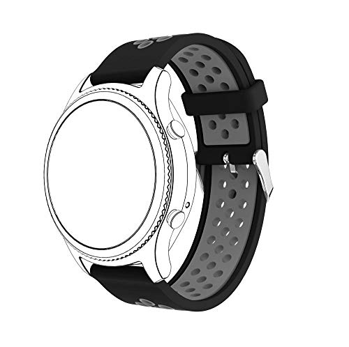 Elite Cotton Pebbles - Jewh Strap Band for Samsung Gear S3 - Classic Sports - Silicone Bracelet Strap Band for Samsung Gear S3 Classic A.6 - Samsung Smart Watch (Black Gray)