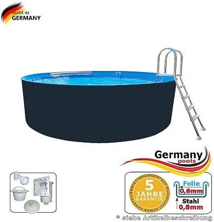 Germany-Pools Piscina de Pared de Acero de 3,60 x 1,25 m, Antracita, Piscina de Acero de 3,6 mm, Piscina Redonda de 3,60 cm