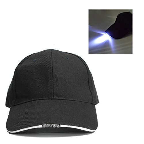 Adjustable Bicycle 5 LED Light Cap Battery Powered Hat Ou...