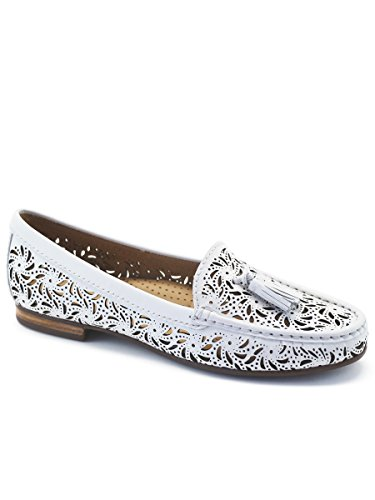 Driver Club Palm Made Womens Loafer USA in Leather Brazil Beach White n7rOnx1