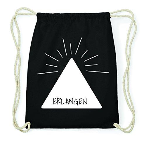 JOllify ERLANGEN Hipster Turnbeutel Tasche Rucksack aus Baumwolle - Farbe: schwarz Design: Pyramide