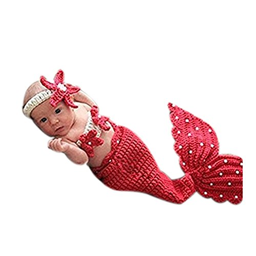 Newborn Baby Infant Photography Photo Props Boy Girl Outfits Fashion Mermaid (Red)