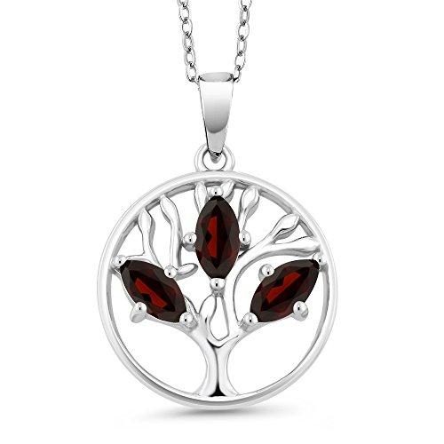 0.78 Ct Marquise Red Garnet 925 Sterling Silver Tree of Life Pendant With Chain